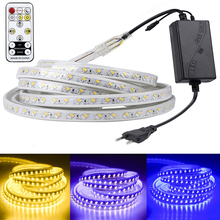 цена на SMD 5050 AC220V LED Strip Flexible Light 60leds/m Waterproof Led Tape LED Light With Power Plug 1M/2M/3M/5M/6M/8M/9M/10M/15M/20M