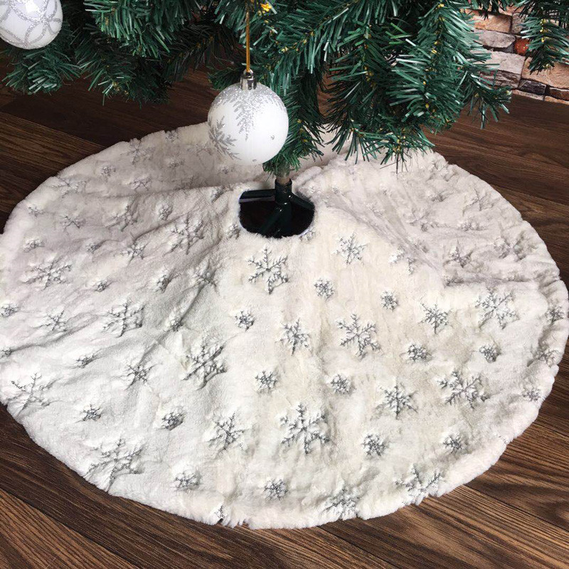 78/90/122cm White Flannel Embroidered Snowflake Christmas Tree Skirt Christmas New Year Home Decoration Tool Super Soft Cover-0