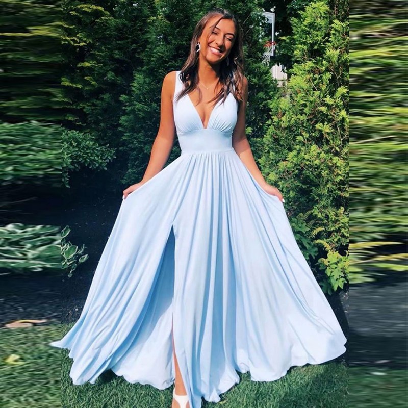 New Arrival Sexy Sky Blue Chiffon Bridesmaid Dresses 2020 Long A Line Wedding Party Prom Women Dresses