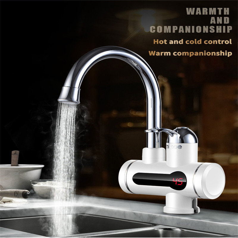 Home Electric Kitchen Water Heater Tap Instant Hot Water Faucet Heater Cold Heating Faucet Tankless Instantaneous Water Heater