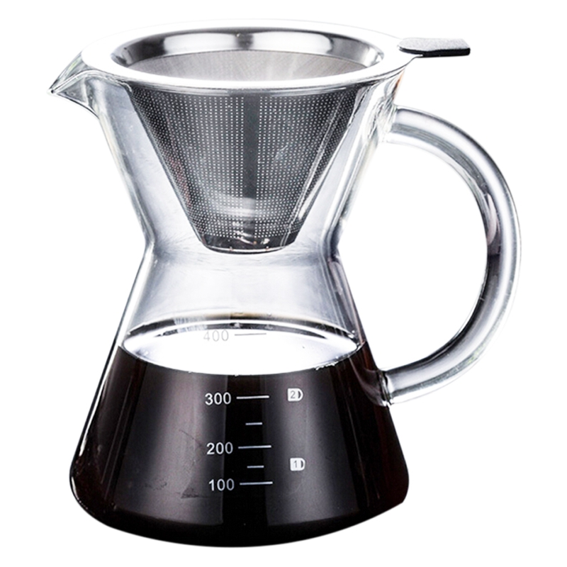 400Ml Pour Over Coffee Maker Drip Thicken Glass Container Hand Percolators Stainless Steel Coffee Filter Home Drinkwares Coffee Pots     - title=