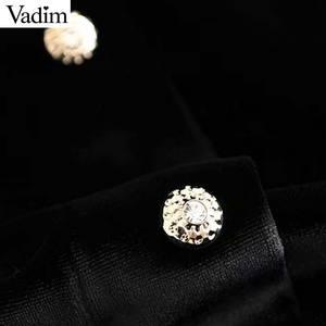 Image 4 - Vadim 女性のエレガントなベルベットミニドレス v ネック半袖ボタン a ラインパーティークラブ摩耗の女性のカジュアルドレス vestidos QD058