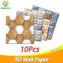10 pçs 3d papel de parede diy tijolo pedra padrão auto-adesivo à prova dwaterproof água adesivos de parede cozinha backsplash banheiro telha adesivo