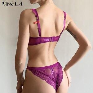 Image 2 - New Sexy Bra Panties Set Purple Lace Brassiere Transparent Underwear Set Ultrathin B C D Cup Women Bras Lingerie Set Embroidery