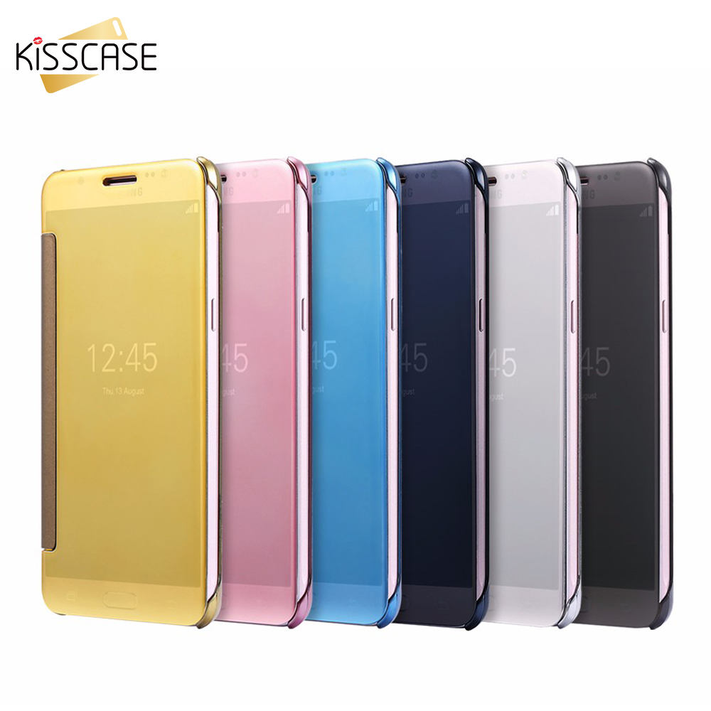KISSCASE Luxury Plated Mirror Flip <font><b>Case</b></font> For <font><b>Samsung</b></font> <font><b>Galaxy</b></font> <font><b>J5</b></font> J7 J1 <font><b>2016</b></font> <font><b>Case</b></font> Clear Full <font><b>Cover</b></font> <font><b>Case</b></font> For <font><b>Samsung</b></font> S8 S7 S6 edge image