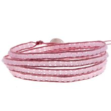 Friendship 4 Layer Wrap Bracelet Light Pink Crystal Beads Strand Chain Handmade Pink Cuff(China)
