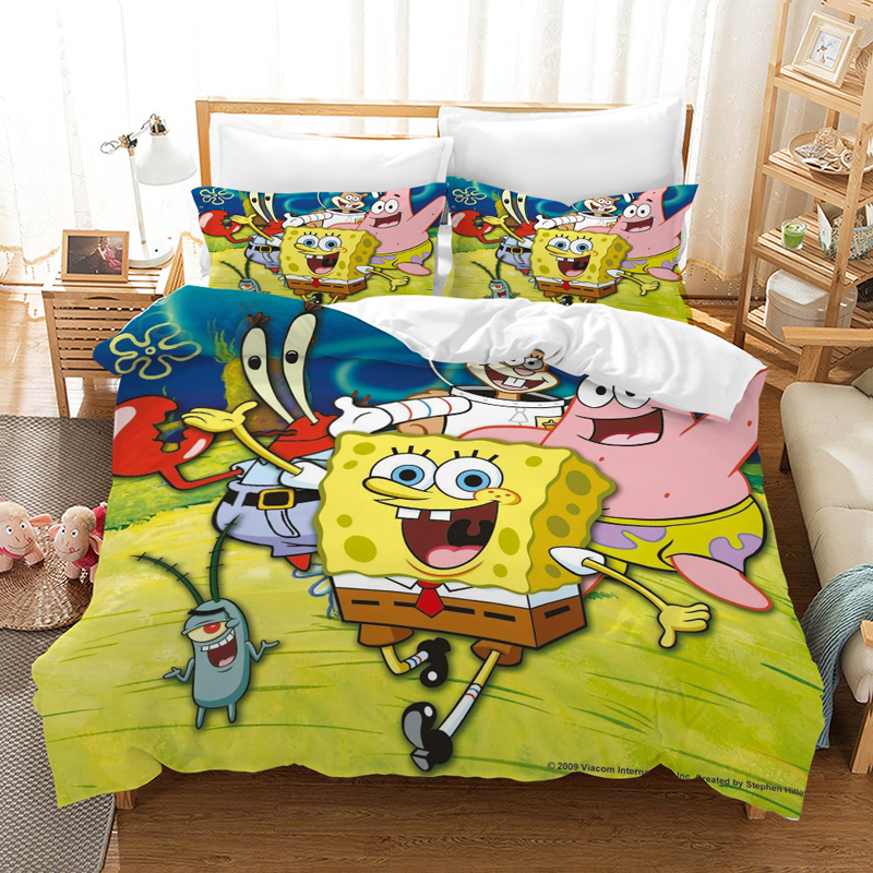 SpongeBob SquarePants Cartoon Bedding Set Duvet Covers Bed Linens Pillowcases Comforter Bedding Sets Bedclothes Bed Linen