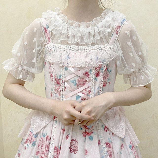 2 Color New Kawaii Lolita Lace Shirt Feamle Heart-shaped Blouse Tops Wooden Ears Mesh Short-sleeved Shirts Mujer 2