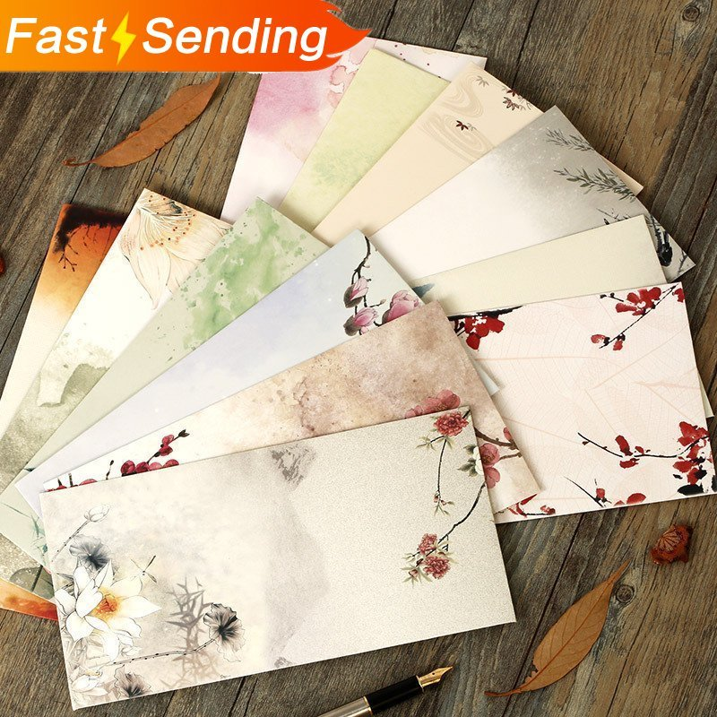 JIANWU 12pcs/set  Chinese Style Traditional Classical Envelope White Kraft Envelope Retro Flowers