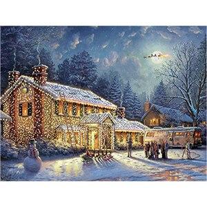 Рождественская Алмазная вышивка, дом 5D, сделай сам, алмазная картина, стразы, квадратная, полная дрель, смоляная мозаика, наборы крестиков