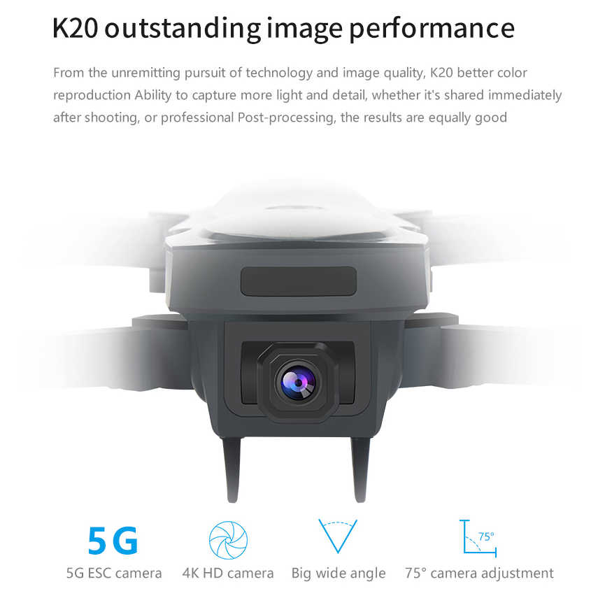 طائرة بدون طيار K20 احترافية مزودة بكاميرا 4K وesc وخاصية تحديد المواقع 5G وwifi وfpv مع التحكم عن بعد بدون فرشاة 1800 متر لعبة مروحية رباعية المراوح SG907