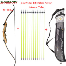 62 Inches Archery Recurve Bow 30-60Ibs With 6 pcs Fiberglass Arrow For Hunting Shooting Practice Accessories