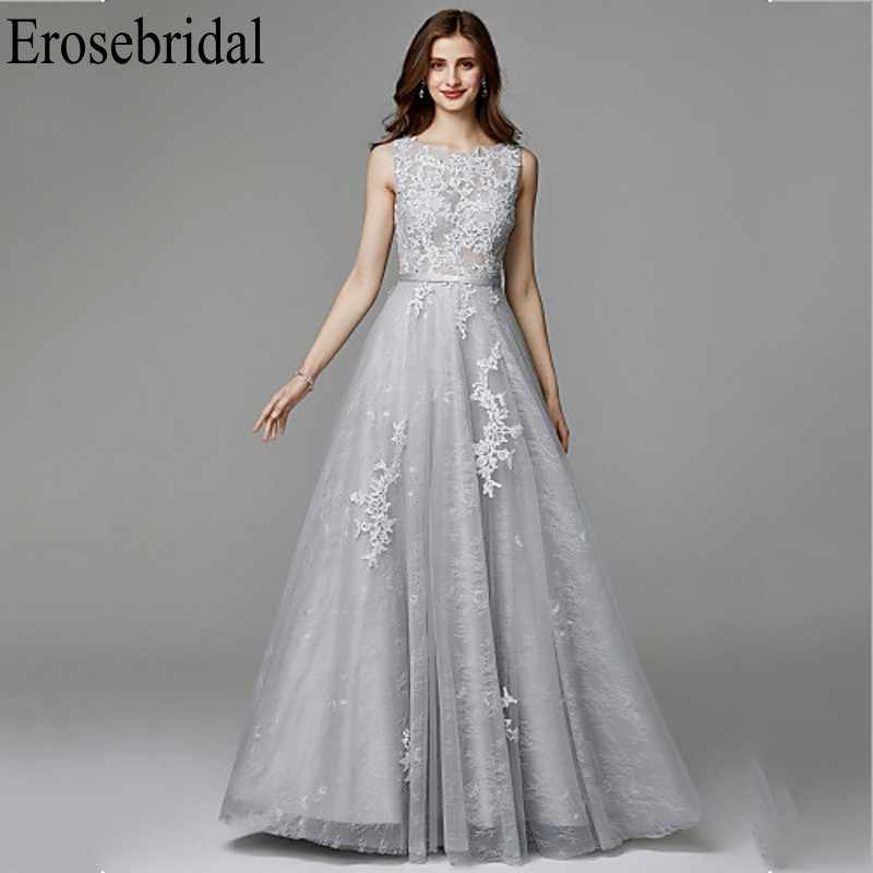 Erosebridal Grey Long Elegant Evening Dress 2019 Lace Occasion Dresses for Women V Back Elegant Party Gowns Evening