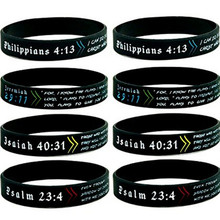 1PCS The Lords Prayer Bible Christian Philippians 413 Psalm 234 Jeremiah 2911  silicone rubber bracelet wristband