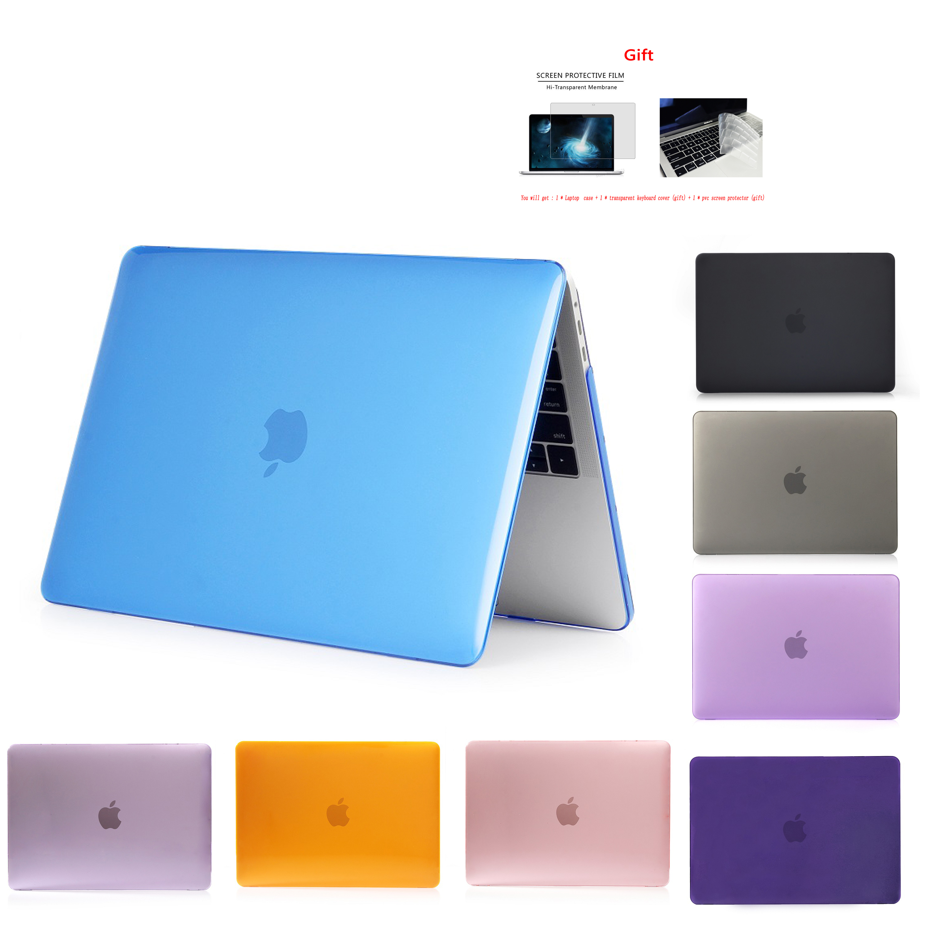 New Crystal\Matte Case For APPle MacBook Air Pro Retina 11 12 13 15 16 inch ,Case for A1466 A1932 A1708 A1706 A2159 A2179 +gift(China)