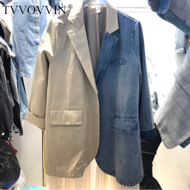 2019 New Spring Fashion Women Blazers And Jackets Clothes Denim Patchwork Turn-down Collar Mesh Jacket TOPS Korean Vintage F435