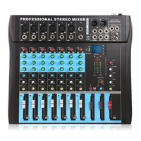 8 Channel (6Mono + 2Stereo) Stereo Mixer USB Studio Audio Sound Console Network Anchor Device Vocal Effect Party USB DJ Mixer