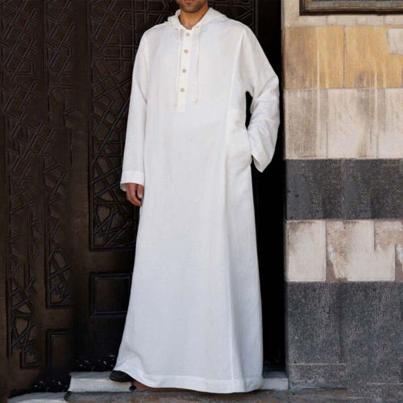 Muslim Robe Hoodies Kaftan Dressing Mens Saudi Arab Dubai Long Sleeve Thobe Arabic Long Islamic Jubba Thobe Man Clothing 2020