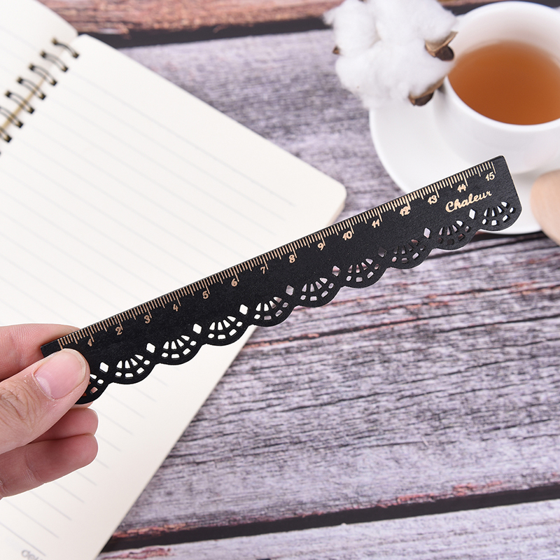 1X Kawaii 15cm Stationery Lace Wood Ruler Sewing Ruler Office School Accessories