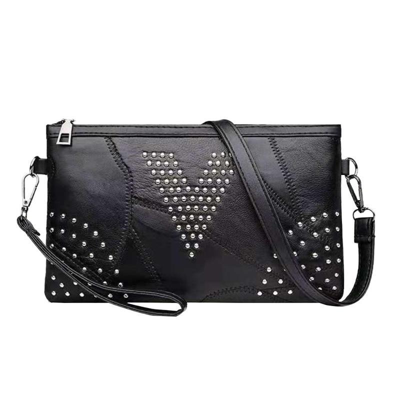 Women Fashion Rivet Soft Crossbody Bags Casual Sheepskin Shoulder Bag Messenger Clutch Handbag Envelope Purse