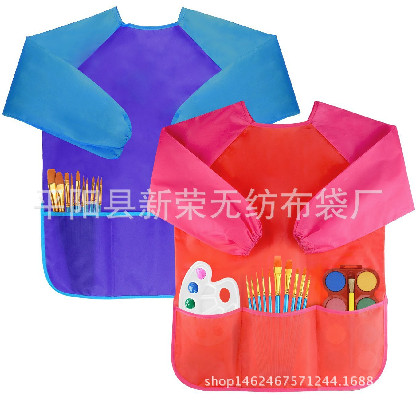 2018 New Style Multi color Children Painting Painting Clothes Long Sleeve Children Overclothes Antifouling Bib Can Be Printed Lo|Oversleeves| |  - title=