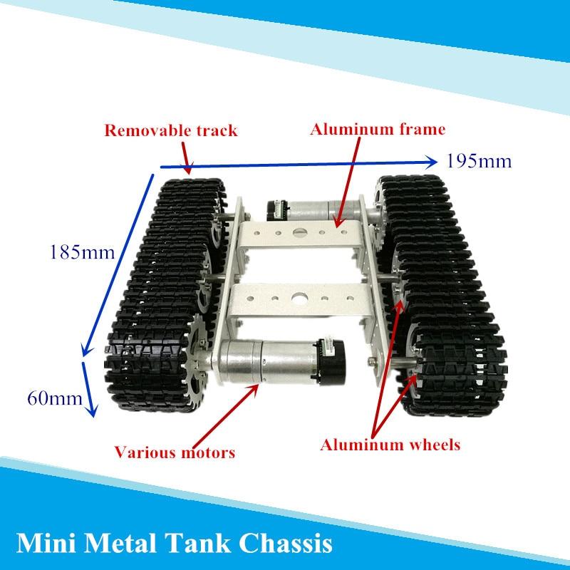 Modelo de tanque de metal robô rastreado, chassi de carro diy, pista, ensino, crawler/caterpillar, plataforma para arduino uno r3