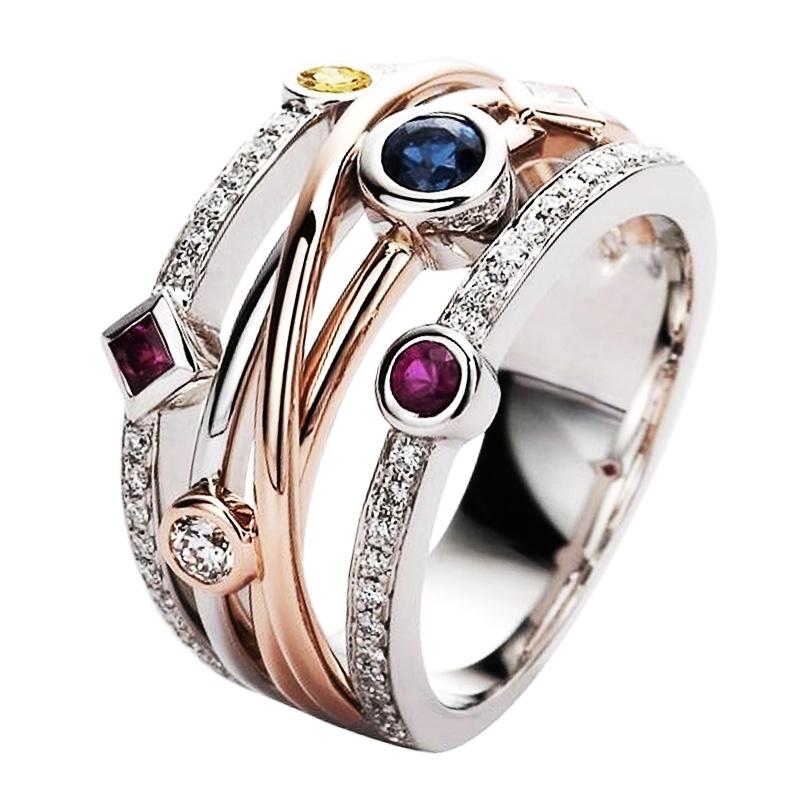 Huitan Colorful Cubic Zirconia Delicate Women Ring Jewelry Wedding Bridal Band Fashion Cross Geometric CZ Dancing Party Rings