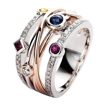 Huitan kolorowe cyrkonia delikatne kobiety pierścień biżuteria ślubna obrączka moda krzyż geometryczne CZ impreza taneczna pierścionki tanie i dobre opinie Mosiądz TRENDY Zespoły weselne GEOMETRIC Wszystko kompatybilny F277 Prong ustawianie Ślub
