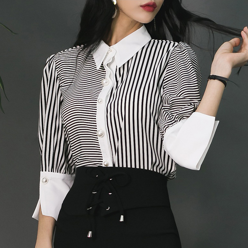 New Style Spring Korean-style Stripes Joint Slim Fit Sexy Elegant Half-sleeve Shirt Wear Base Shirt Women's