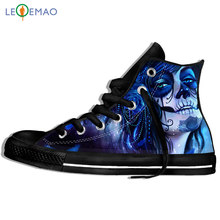Outdoor Walking Shoes MaskedWoman Men Skull Print Peking Opera Halloween Sport Shoes Comfortable Lace-up Students Sneakers(China)