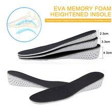 2/3/4cm eva memória espuma aumentando palmilhas almofada de ar palmilhas aumento altura invisível palmilhas sapato inserções calcanhar elevadores almofada mais alto