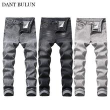 Mens Classic Slim Fit Jeans Elastic Denim Jeans Long Pants S