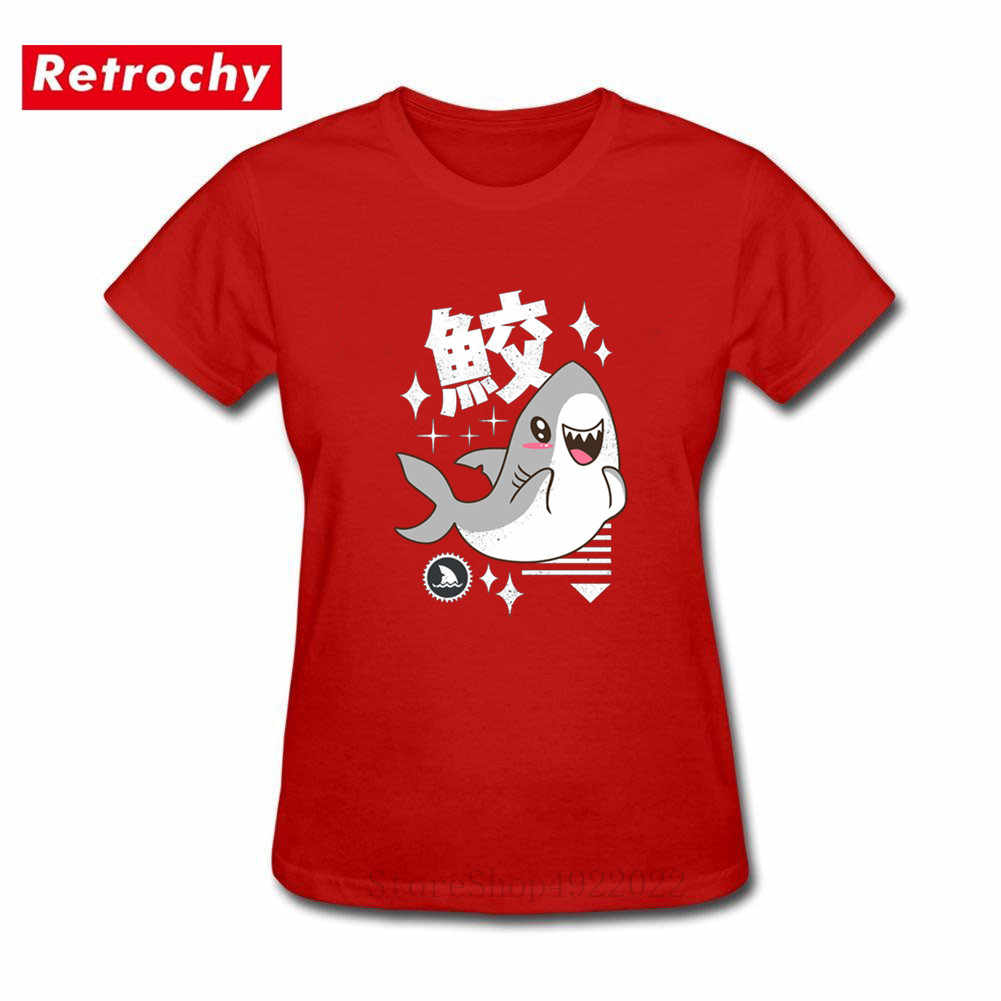Kawaii Shark T-Shirt Women Funny Clothes Japan Kanji Printed T Shirt Street Style Cute Tops Cotton Tee Summer Black Tshirt Femme
