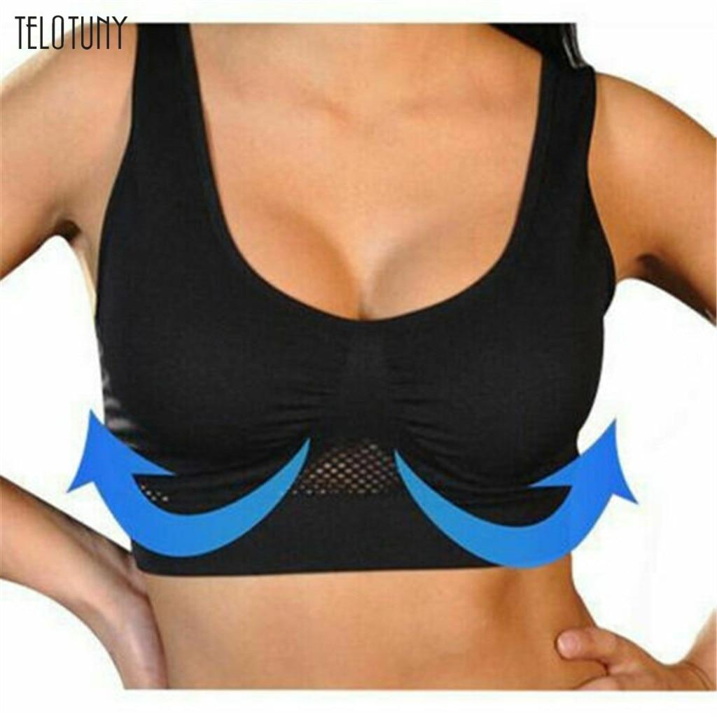 TELOTUNY Women Sport Bra Top Padded Yoga Brassiere Fitness Sports Tank Tops Female Sport Air Permeable Push Up Wireless Bra 1126