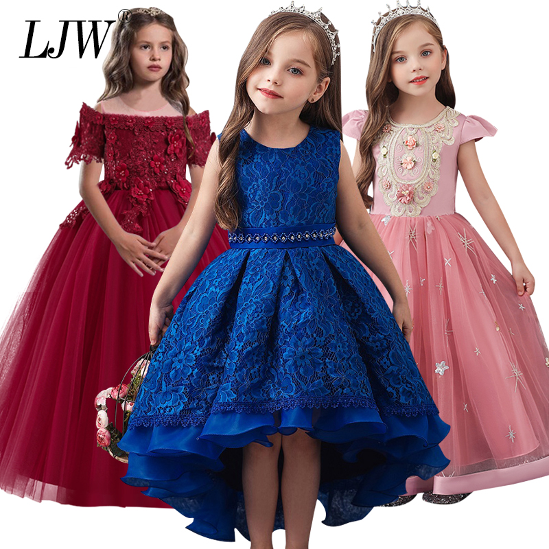 4-14yrs Teens Summer Lace Princess Dress For Girl Elegant Birthday Party Dress Girl Dress Baby Girls Clothes