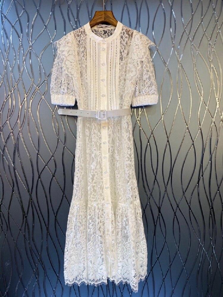 Lace Long Dress 2021 Summer Fashion Party Evening Women Allover Crochet Lace Flowers Belt Deco Short Sleeve Long Shirt Dress