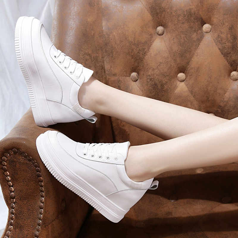 Genuine Leather White Shoes Woman