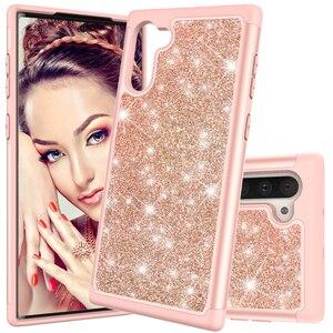 Image 5 - Glitter Telefon Fällen für Samsung Galaxy Note10 Note10 Plus Note10 Pro Fall Luxus Bling Dual Layer Hybrid Harte PC TPU funda Coque