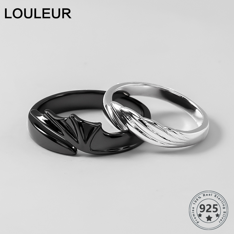 Louleur 925 Sterling Silver Angel And Devil Couple Rings Original Creative Texture Romantic Rings For Lovers Festival Jewelry Rings Aliexpress