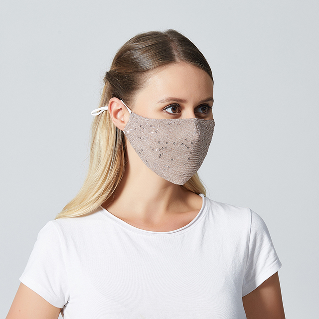Women Summer Sequin Mask Anti-Haze Shining Party Activated carbon Windproof Mouth muffle bacteria proof Flu Face masks 3