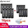 8Pcs PALO 1.2V 3000mAh AA Rechargeable Battery And 8Pcs 1100mAh AAA Rechargeable Batteries For Toys Car