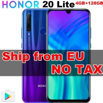 Перейти на Алиэкспресс и купить ЕС в наличии Honor 20 Lite 4 Гб 128 ГБ передний 32 МП Kirin 710 Восьмиядерный Android 9,0 Face ID мобильный телефон