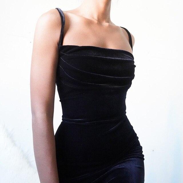WannaThis Black Velvet Spaghetti Strap Dress Front Ruched Mini Skinny Sleeveless Off Shoulder Women Fashion Elegant  Party Dress 2