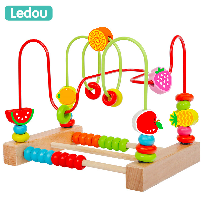 Infant GIRL'S Educational Toy Bead-stringing Toy Beaded Bracelet Baby CHILDREN'S Building Blocks Wooden Toys 1-2-3 A Year Of Age