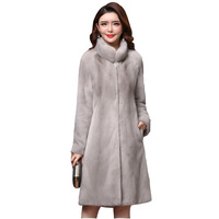 Winter high quality real mink fur coat ladies new full sleeve thick warm long genuine natural fur coats plus size 3XL overcoat