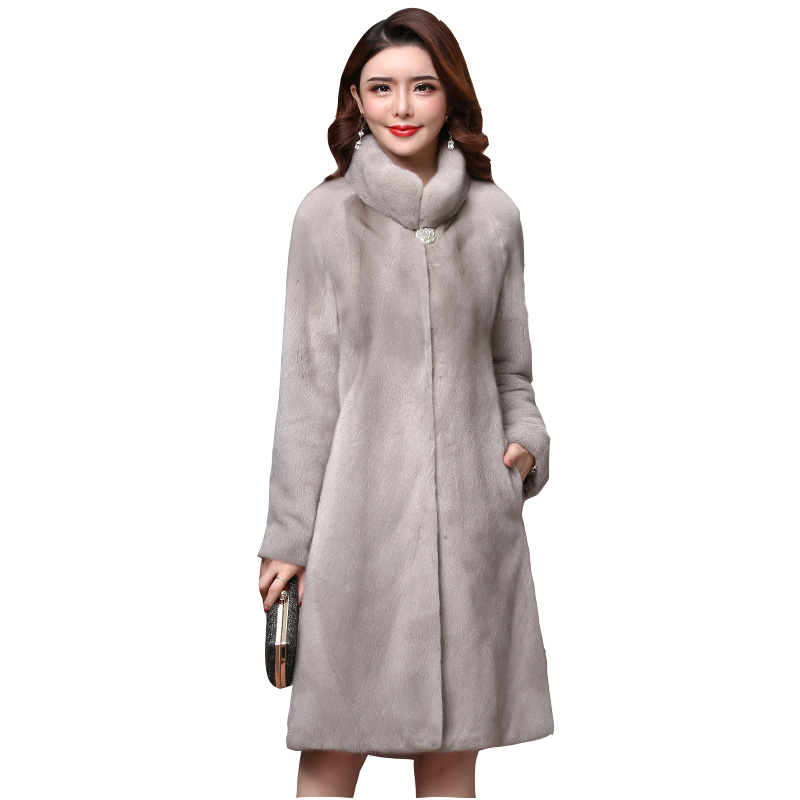 Winter High-quality Real Mink Fur Coat Ladies New Full Sleeve Thick Warm Long Genuine Natural Fur Coats Plus Size 3XL Overcoat