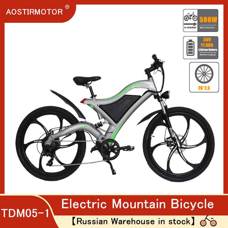 AOSTIRMOTOR Elektrische Mountainbike 500W Elektrische Fahrrad Booster Cruiser Strand Ebike 36V 11,6 EINE Lithium-Batterie Russische Lager