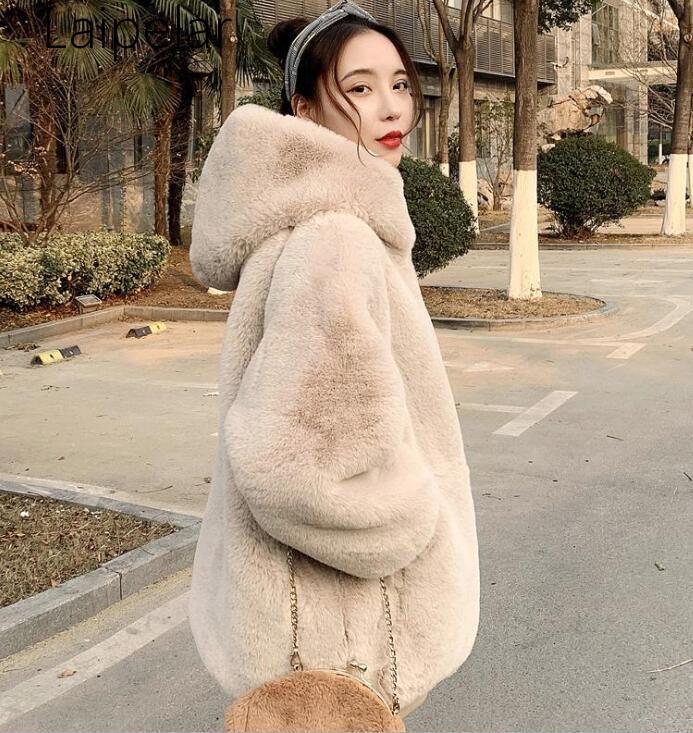 Faux Fur Coat Women 2019 Casual Hoodies Furry Thick Warm Long Faux Mink Fur Jacket  Loose Winter Coat Women  White Fur Coat