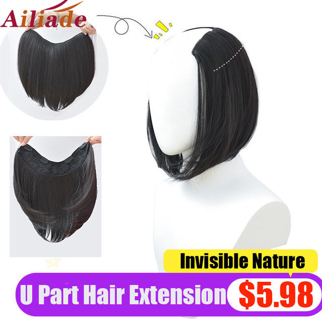 AILIADE U Part Clip in Hair Extension Clip-on Natural False Fake Synthetic Black Short Straight Hairpieces 12 inch For Women