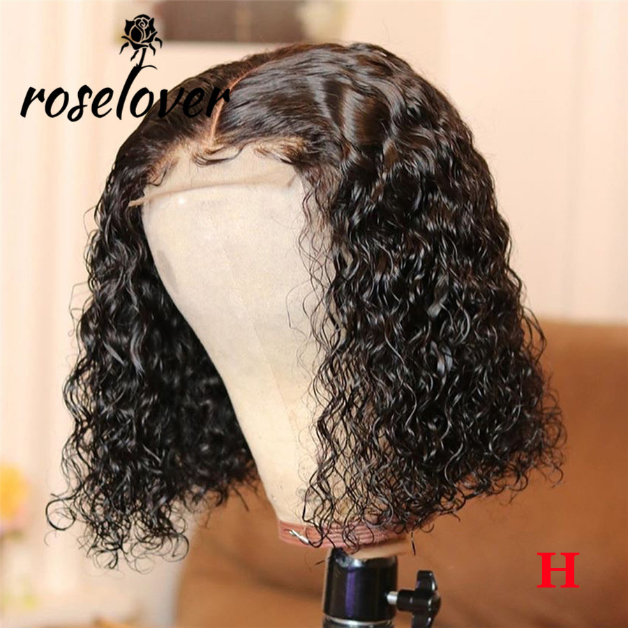 150% 4*4 Lace Closure Wig Lace Closure Human Hair Wigs With Baby Hair Brazilian Remy Hair Short Curly Bob Wigs Pre-Plucked Wig